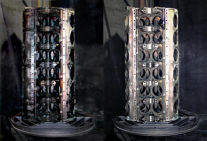 Before and after images of an engine bloc washed with a PROCECO TYPHOON®-HD heavy-duty parts washer or a TYPHOON®-RCP heavy-duty aqueous washer