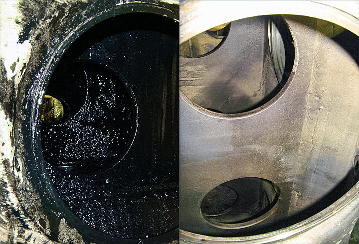 Close-up of before and after images of an engine bloc washed with a PROCECO Integrated cleaning systems