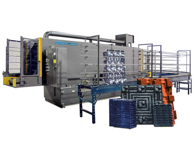 The dunnage washer is designed to automatically clean and dry a variety of reusable plastic dunnage, trays, and pallets