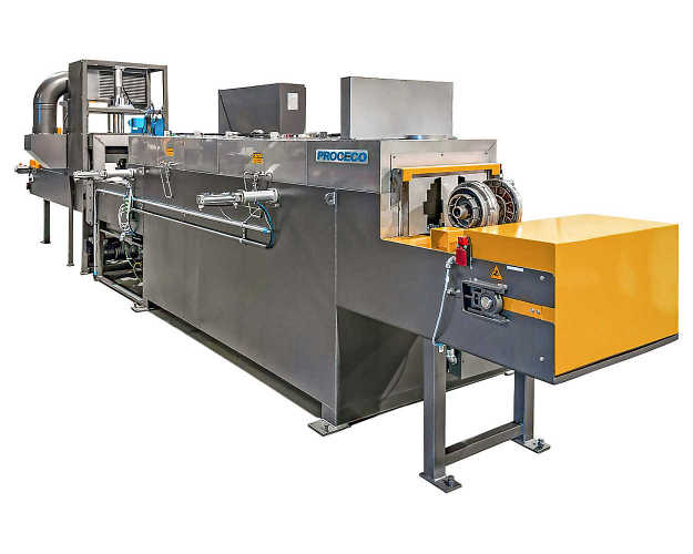 Belt conveyor parts washer ideal for industrial parts cleaning offers a continuous flow with compact footprint
