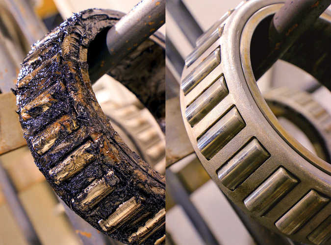 Zoomed image of bearing before and after being washed with PROCECO Heavy-Duty cabinet parts washers TYPHOON®-HD