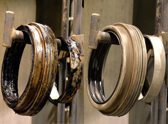 Before and After Image of Axle Bearing Components Washer. The Heavy-duty washer is ideal for batch loading of multiple bearing sets.