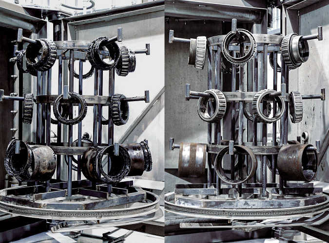 Image of railway bearings on a fixture before and after being washed with the PROCECO TYPHOON®-HD