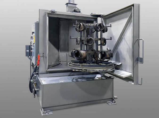 Heavy-Duty TYPHOON®-HD parts washer configured for railway bearing and bearing boxes