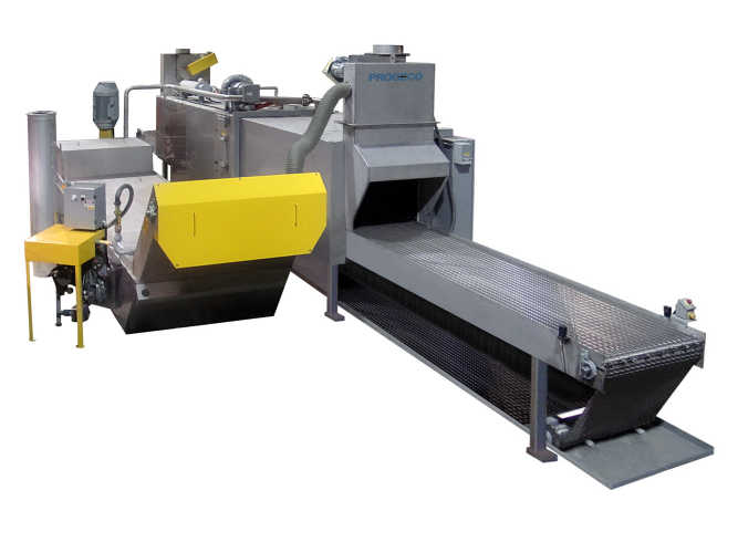 Heavy-duty conveyor washer for heavy contaminated parts and components